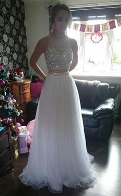 White Two Pieces Prom Dresses Long Crystals Tulle