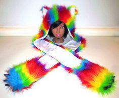 Rave Furry Scoodie Rainbow Fur Hoodie Scarf with by OsisVinylDolls