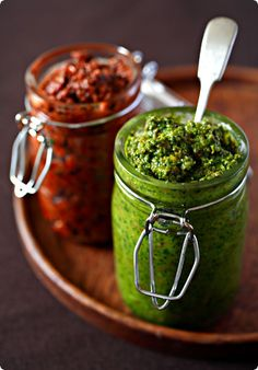 [ Recipe: Vegan Sicilian Nut Pesto and Pesto Rosso ] using unsalted pistachios, blanched almonds, hazelnuts, pine nuts, garlic cloves, basil leaves, mint leaves, extra-virgin olive oil and salt. ~ from TravelersLunchBox.com