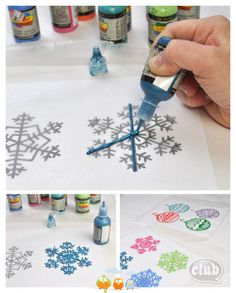 Make window clings with puff paint and parchment paper. Just trace over designs, wait for them to dry, and peel off carefully.  Beautiful!