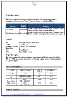 Mba Information Technology Resume Format Page   Career
