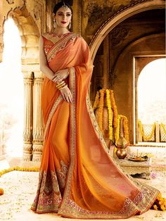 Entirely different looking outfit with fashionable staple. Item Code: SSRA1118 Shop more: http://www.bharatplaza.com/women/sarees.html