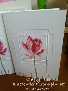 handmade notecard from Crafty Helen ... stamped lotus ... one layer ... embossing folder framing forms a focal point and a finished look to the card ... luv it! ... Stampin' Up!