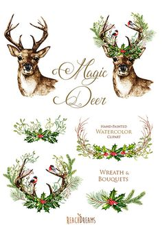 Christmas Deer. Watercolor deers antlers bullfinches hand