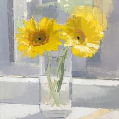 "This still life contemporary painting of sunflowers will brighten any room. Lisa Breslow, ""SUNFLOWERS,"" oil and pencil on panel, 16 x 16 in. Available at Markel Fine Arts. Nyc Art, Easy Paintings, Abstract Paintings, Pictures Of The Week, City Art, Contemporary Paintings, Stone Painting, Art And Architecture, Art Forms"