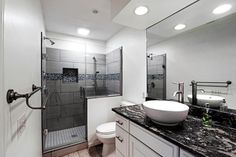 Transitional 3/4 Bathroom with Trench Coat Series Champagne, Complex Granite, Vessel Sink, Hardwood floors, High ceiling