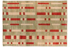 hope renewal rug, green ground with beige and red  wool