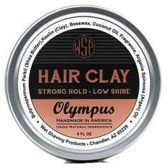 Hair Clay (Olympus) 4 oz Natural Wax Based Pomade Natural & Vegetarian Barber Accessories, Hair Clay, Diy Haircut, Nourishing Shampoo, Greasy Hair Hairstyles, Apricot Kernels, Hair Pomade, Beard Balm, Free Hair