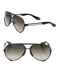 Givenchy 65MM Interchangeable Aviator Sunglasses - Black