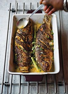 Levi Roots' Deliciously spicy seabass, baked in the oven. Photograph: Chris Terry