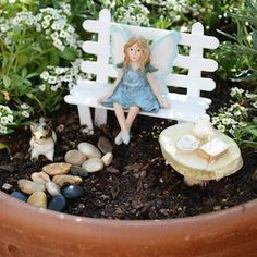 Make your own whimsical fairy garden with these creative DIY fairy garden ideas for inspiration. There are easy fairy garden ideas for containers, outdoors, and indoors. Beach Fairy Garden, Fairy Garden Plants, Fairy Garden Houses, Fairy Gardening, Gardening Tools, Flower Gardening, Small Backyard Gardens, Backyard Garden Design, Small Gardens