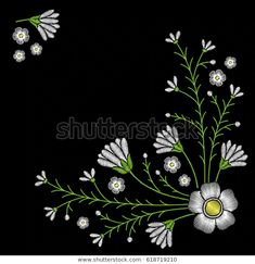 Embroidery Corner Floral Pattern Chamomile On Stok Vektör (Telifsiz) 618719210 Corner, Embroidery, Floral, Pattern, Image, Needlepoint, Florals, Patterns, Drawn Thread