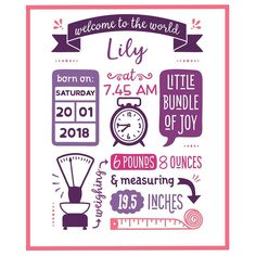 This birth stats template is available in the Best Sellers Design Bundle at desi. Birth Announcement Template, Birth Announcement Girl, Baby Frame, Diy Baby Gifts, Baby Images, Baby Wall Art, Baby Shower Cards, Card Making Inspiration, Baby Prints