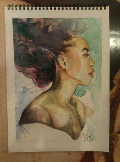 #womanportrait Acuarela 370g 23x32,5 Alexandra Sánchez Moreno (04/2017)