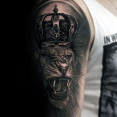 Guys Roaring Lion With Crown Half Sleeve Tattoo Ideas