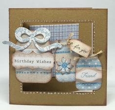 Card made using Kraft card blank with elements fro Pop Up Silhouette kit.