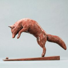 Red Fox and mouse - Delightful limited edition bronze wildlife sculpture of a fox jumping up at a mouse (mousing) by acclaimed nature sculptor, Nick Bibby Animal Sculptures, Lion Sculpture, Garden Sculpture, Soapstone Carving, Wood Carving Art, Fox Art, Red Fox, Clay Creations, Clay Crafts