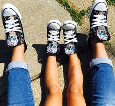 Mommy and Me Converse Sugarskull Shoes Custom Converse Shoes, Converse Tennis Shoes, Outfits With Converse, Converse All Star, Best Vlogging Camera, Chuck Taylor Shoes, Picture Outfits, Mommy And Me, Polyvore Outfits
