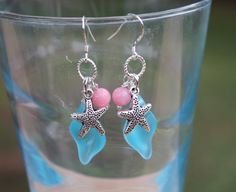 Aqua Frosted Sea Glass Shell Dangle Earrings with by InaraJewels