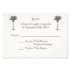Formal Palm Tree Tropical Island Wedding RSVP Personalized Announcement