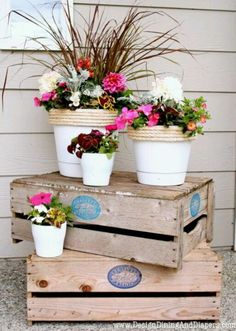Love this for front porch--crates with dollar store flower pots. would also lood great with wirl crates Front Porch Garden, Diy Porch, Porch Ideas, Diy Patio, Yard Ideas, Outdoor Projects, Outdoor Decor, Outdoor Spaces, Wood Projects