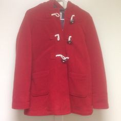 Old Navy Red Fleece Jacket Old Navy red fleece jacket size kids xxl16 or a woman's S. In used good condition with minor loose threads and knicks. Had a hood, zipper and toggles. Item is from smoke free and pet friendly home . Any questions, please ask. Old Navy Jackets & Coats