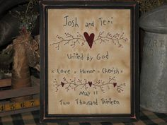 Personalized Primitive Wedding Stitchery  by MockaMooseMarket, $20.00