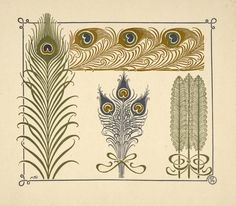 Free vintage print of French (1900) abstract design using peacock feathers.  Great print to frame. From the NYPL Digital Gallery