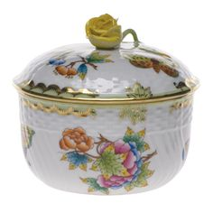 Herend Queen Victoria Covered Sugar Bowl with Rose Finial Porcelain Ceramics, China Porcelain, Ceramic Bowls, Porcelain Tile, Herend China, Queen Victoria, China Dinnerware, Bone China, China China