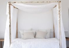 canopy beds, diy bed frames with storage, white bedrooms, hous, dream bed, bed canopies, four poster beds