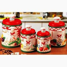 Gourmet chef Ceramic Deluxe 4pc Canister chef by KK-DOW. $79.99. Gourmet Chef Collection. finished glazed to make it shine. Ready to decorate your kitchen with this amazing Gourmet chef collection.look at the detail work and. items are made from fine ceramic. delicate finish glossed. * Features individually hand-painted pieces designed to bring a touch of chef Gourmet decorations to your home/kitchen * High quality ceramic construction  * Handcrafted and hand-painted by exper...