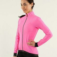PINK LULULEMON PACE LINE  JACKET Size medium. NWOT.   No flaws. Lightweight and ergonomically cut with wicking properties to keep you comfortable during the long haul. Mesh panels in high sweat areas for added breathability. Chafe resistent flat seams help keep chafe in check. Reflective taping adds visibility in low light. 3 rear pockets for all your essentials. Pretty insets on the back of sleeves. End of sleeves has black trim. 34 inch bust, length of jacket is 28 inches. Sleeve length is…