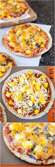 Mango Basil Personal-Sized Tortilla Pizzas - Pizzas made with a tortilla crust cook faster and are a great way to keep pizza lite!
