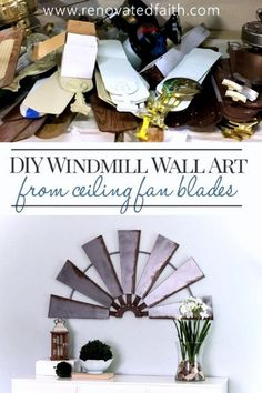 Use fan blades to make your own farmhouse style windmill wall hanging for your home or even use it as garden art on a wood porch, while staying on budget! For less than $20, this easy step-by-step tutorial will show you how to get a Fixer Upper look even Joanna Gaines would love. This post shows you how to make beautiful windmill decor by using ceiling fan blades and some other products around your home. Several ideas are included so you can customize it to your house and space needs Windmill Ceiling Fan, Windmill Wall Decor, Windmill Decor, Diy Wall Art, Diy Wall Decor, Diy Home Decor, Wall Décor, Tree Wall, Nursery Decor
