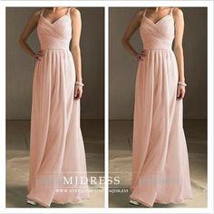 Peach bridesmaid dress simple bridesmaid dress floor by MJDRESS, $98.00