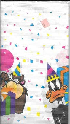 "Vintage 1995 Looney Tunes Paper Table Cover 48""""x88"""""