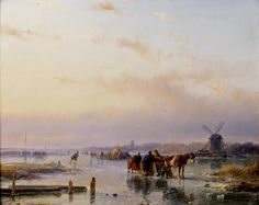 Andreas Schelfhout (Dutch, 1787-1870) Gathered on the ice at the end of a winter's day