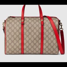 "Nwt Gucci bag Beige/ebony GG supreme canvas, made using an earth-conscious process, with hibiscus red leather trim Light fine gold hardware Natural cotton linen lining Double handles with 4"" drop Adjustable and detachable shoulder strap with 20"" drop Interior zip and smart phone pockets Top zip closure Medium 12.6""W x 8.6""H x 7""D Small spur details Gucci Bags Hobos"