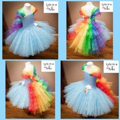 Sparkly tulle Rainbow Dash inspired tutu dress by Lulu in a Tutu. Find at www.facebook.com/LuluinaTutu #tutu #luluinatutu #unicorn #mlp #rainbowdash