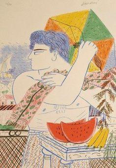 Αλέκος Φασιανός -Χαρταετός Art And Illustration, Illustrations, Mural Painting, Artist Painting, Carnival Crafts, Greek Paintings, Street Art, Conceptual Art, Teaching Art
