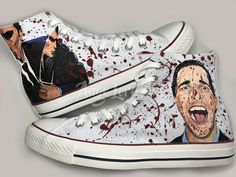 439cd20f3f7c Items similar to American Psycho horror movie inspired Hand Painted  Converse Hi Tops shoes sneakers. All sizes. on Etsy