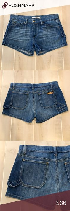 """Like New! Joe's Twisted Cuff Carpenter Shorts Like New Condition.  Worn once with no signs of wear.  Joe's Denim.  """"Twisted Cuff shorts"""" carpenter style.  Size 30.  Inseam is approx 3"""".  Rise is approx 9.5"""".  Waist is approx 16"""".  2% Elastane. Joe's Jeans Shorts Jean Shorts"""