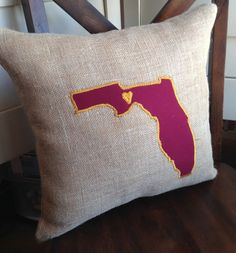 Love Florida State Burlap Garnet and Gold Throw Pillow Cover -Heart over Tallahassee -FSU National State Champs