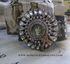 leather cuff with rhinestones | Leather cuff with vintage rhinestones.