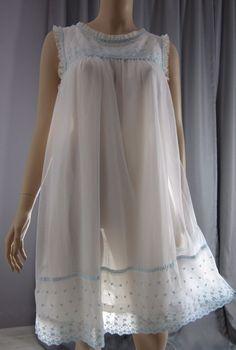 Vintage 1960s White Sheer Chiffon Overlay Babydoll Nightie Nightgown Lace #Komar
