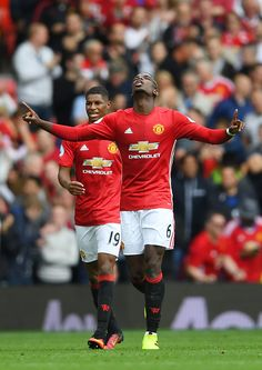 Paul Pogba of Manchester United celebrates scoring his sides fourth goal during the Premier League match between Manchester United and Leicester City. Premier League Champions, Barclay Premier League, Manchester United Football, United We Stand, Football Pictures, English Premier League, Premier League Matches, Man United, Football Soccer