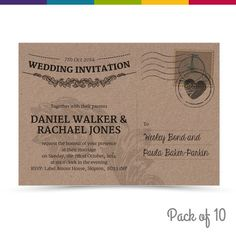 personalised shabby chic vintage postcard wedding invitations packs