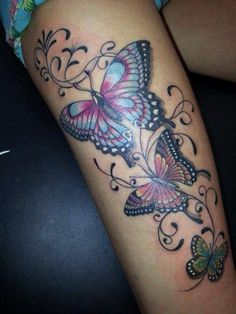 Butterfly Tattoos - love the colours :) Girly Tattoos, Pretty Tattoos, Sexy Tattoos, Beautiful Tattoos, Body Art Tattoos, Small Tattoos, Sleeve Tattoos, Tatoos, Flower Tattoos