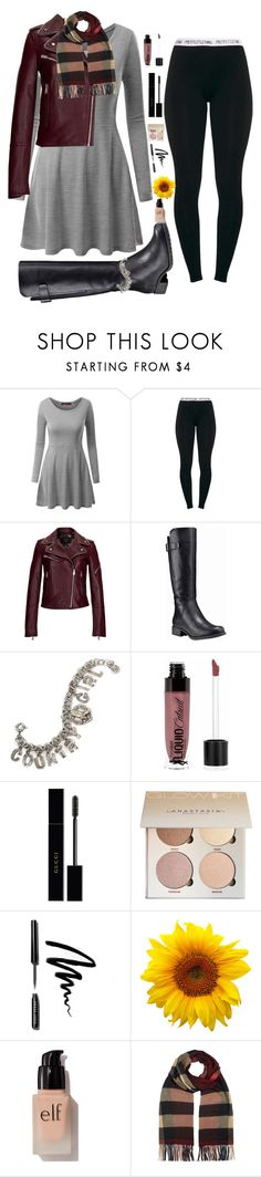 """""""How to dress modestly for Winter"""" by piano-fingers-88 ❤ liked on Polyvore featuring Doublju, MCM, Timberland, Sweet Romance, Wet n Wild, Gucci, Bobbi Brown Cosmetics, e.l.f. and Burberry"""