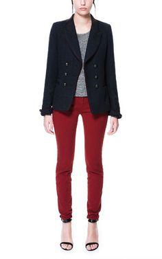 black blazer, grey top, burgundy pants